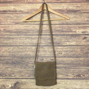 The Sak Crochet Knit Shoulder Hobo Sling Bag Brown